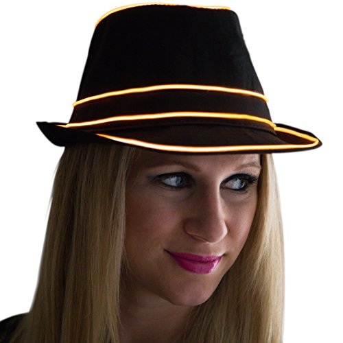 El Wire Costume Tron (Neon Nightlife Light Up Fedora, Large, Orange)