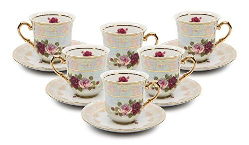 Royalty Porcelain 12-pc Miniature Espresso Coffee, Cups and Saucers, Vintage Cobalt Rose Floral Pattern, Bone China Tableware (4 Oz) -