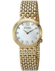 Bulova Womens Quartz Stainless Steel Casual Watch, Color:Gold-Toned (Model: 97P114)