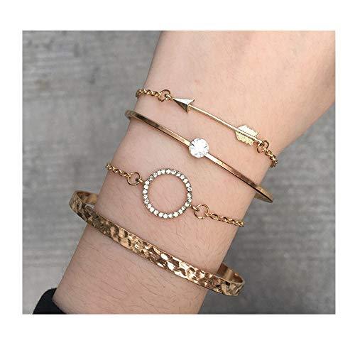 Hemlock 5 PCs Bangle Bracelet, Women 925 Sterling Silver Bracelet Bohemia Jewelry (C-Silver)