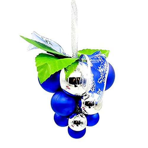 Grape Ball Cluster Strings Decoration Christmas Tree Roof Hanging Party Pendant Baubles (Blue)