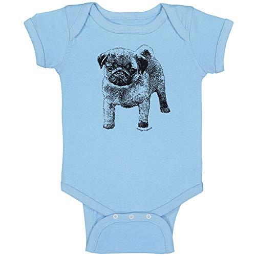 Indigo Legend Pug Puppy Bodysuit for Baby Boys and Girls, (Blue, 6-12 Months)]()