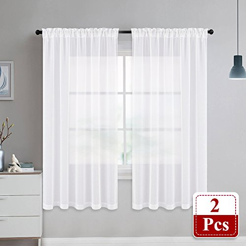 NICETOWN Sheer Curtains Linen Textured - Country Style Home Decor Bedroom Window Privacy Translucent Voile Sheer Drapes for Kid Room, 63 Inch Long, White by NICETOWN (Image #3)
