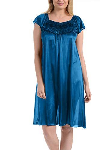 Ezi Women's Satin Silk Ruffle Nightgown,Jewel Blue,M