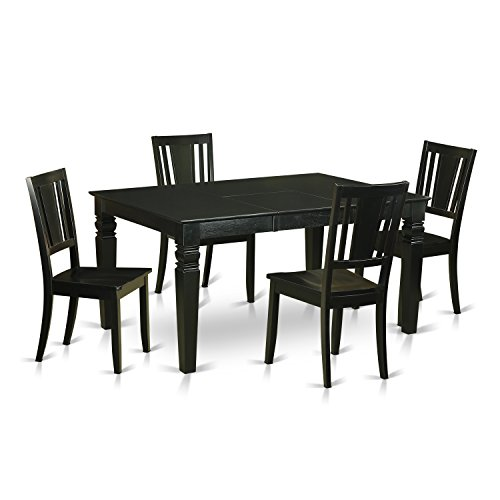 East West Furniture WEDU5-BLK-W 5 Piece Table and 4 Kitchen Chairs Dinette