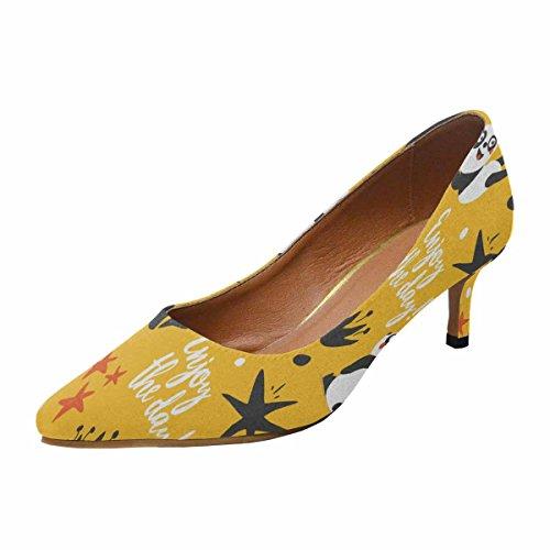 InterestPrint Womens Low Kitten Heel Pointed Toe Dress Pump Shoes Panda,Enjoy The Day,Star,Heart,Fun,Yellow Multi 1