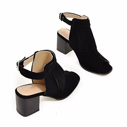 de cinturones de boca tacones de con mujer tamaño de sandalias gran mujer pie black tamaño de gran altos de pescado hebilla borlas Zapatos señoras cuencos 6YqTEdw6