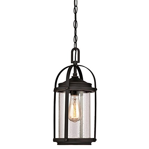 Westinghouse Lighting 6339400 Grandview One-Light Outdoor Pendant, Oil Rubbed Bronze Finish with Highlights and Clear Seeded Glass ()