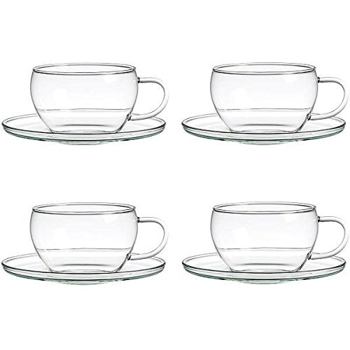 Business Coffee 1036 Lotus Teetasse 4-er Set aus Borosilikatglas, 0,25 L
