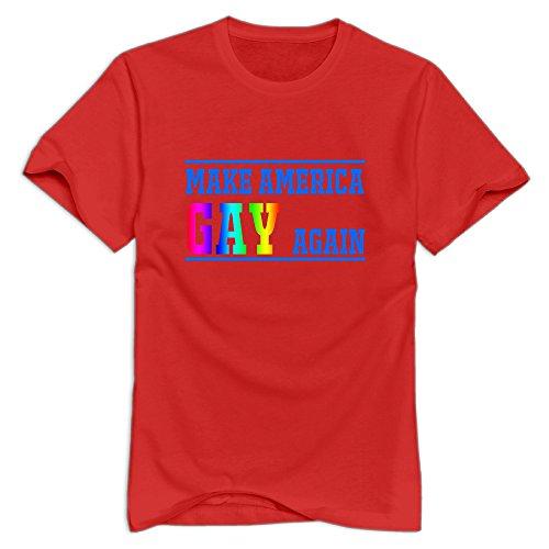 KST Men's Make America Gay Again 100% Cotton Short Sleeve Swag Saying T-Shirt Red Size - Mila Aerosmith Kunis