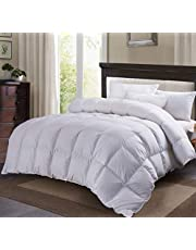 C&W White Goose Down Comforter King Size,60oz Fill Weight,750 Fill Power,100% Cotton Shell,Goose Down Duvet King with Corner Tabs, Baffle Boxes Construction,Heavy Weight for Winter,White(90% Goose Down-King)