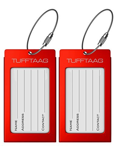 Luggage Tags Business Card Holder TUFFTAAG PAIR Travel ID Bag Tag - Red