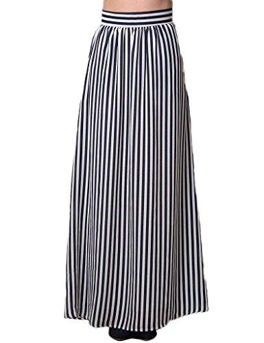 PERSUN Womens Black Stripes Retro