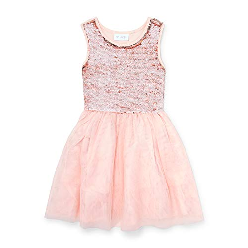 The Children's Place Big Girls Special Occasion Dresses, Rosewater L (10/12) Childrens Place Girls Glitter