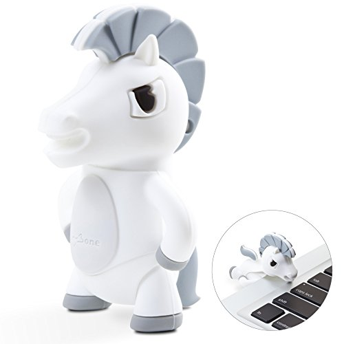 Bone Collection 16GB USB Flash Drive, Cute Animal Cartoon Character Cool Novelty Design Silicone Enclosure Memory Card Thumb Stick Data Storage for School Students Kids Children - White Horse