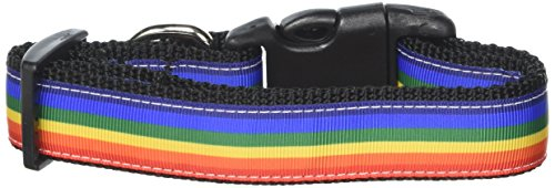 (Mirage Pet Products Rainbow Striped Nylon Collars, Medium)