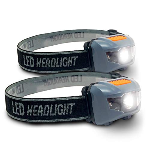 (Bright Eyes 2-Pack Cree LED Headlamp (White and Red Lights) - Adjustable Running, Reading, Camping, Outdoor or Indoor Flashlight Headlights)