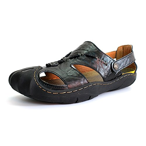 Slippers,Men's Yao Genuine Beach Non Shoes Slip Leather Closed Casual Soft Flat Black Glue No Toe Sandals qx4FtwExnr