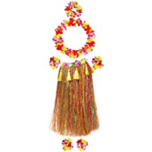 """Fighting to Achieve Unisex Adult Hula Dancer Outfits 7pcs, Grass Skirt 31.5"""""""