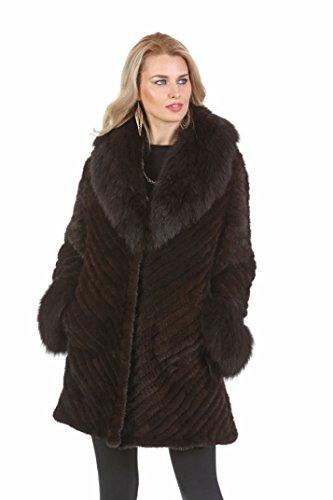 Madison Avenue Mall Knitted Mink Fur Jacket Coat For Women Mahogany Mink Fox Collar (Mahogany Mink Fur Coat Jacket)