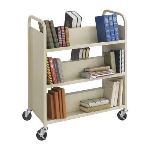 Sand Safco Steel Double-Sided 6-Shelf Book Cart, 36w x 18-1/2d x 43-1/2h - BMC-SFC 5357SA