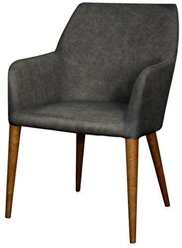 (New Pacific Direct Regan PU Leather Arm Chair,Walnut Brown Legs,Antique Gray,Fully Assembled)