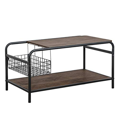 Rustic Coffee Tables with Storage Living Room Industrial Metal and Wood Shelf Vintage End Sofa Side Tables Cocktail TV Table Space Saving Organizer from Coavas