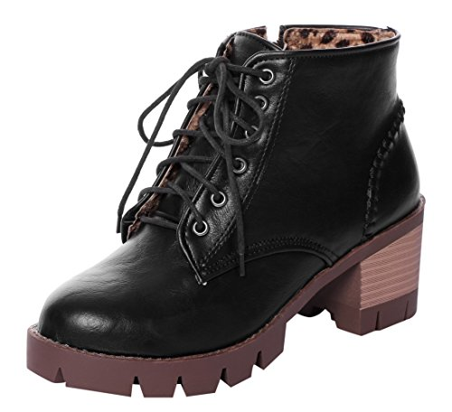 CAIHEE Womens Fashionable Lace Up Zipper Stacked Heels Ankle Booties Black