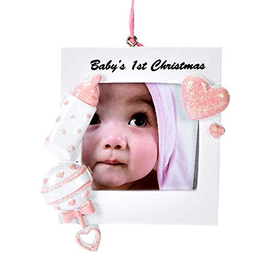 Gift Boutique Baby's First Christmas Ornament 2018 Pink Girl Baby Photo Picture Frame DIY Personalization for Holiday Newborn Infant Keepsake Ceramic with Hanging Ribbon