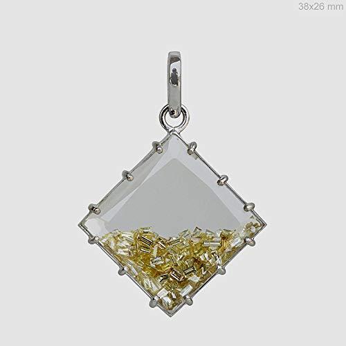 18k White Gold Genuine Loose Baguette Shape Diamond Shaker Pendant Crystal Quartz Gemstone Handmade Fine ()