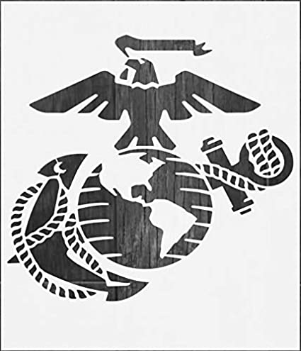 graphic relating to Printable Marine Corps Emblem known as Hefty US Maritime Corps Stencil for Portray upon Wooden, Material, Partitions, Airbrush + Far more Reusable 12 x 14 inch Mylar Template (USMC Navy Symbol)