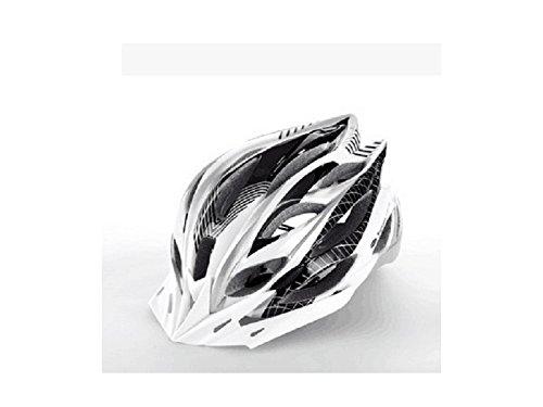 Yunqir Men Women One-Piece Helmet Ventilation Bike Helmet Porous Mountain Bicycle Helmet(Black+White) by Yunqir