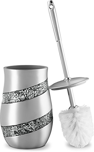 DWELLZA Toilet Bowl Cleaner Brush and Holder Set – Silver Mosaic Collection - Decorative Toilet Scrubber - Silver Bathroom Accessories - Good Grips Toilet Brush and Holder – Silver Gray