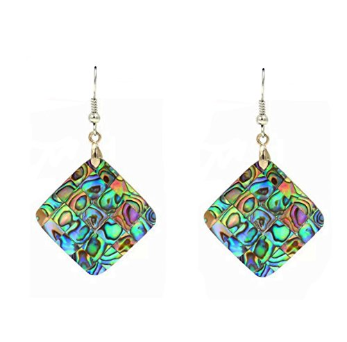Abalone Pearl Hook Earrings - Elegant Diamond Shaped Mosaic of Abalone Shell Hook Earrings
