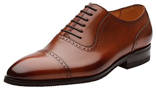 Dapper Shoes Co. Handcrafted Men's Classic Plain Toe Cap Oxford Leather Lined Perforated Dress Shoes Brown