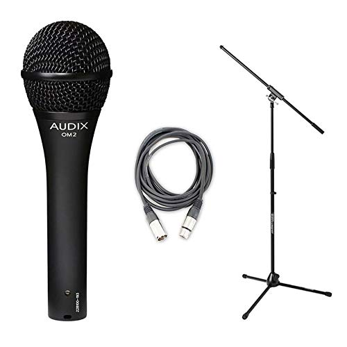 Audix OM-2 Dynamic Vocal Microphone OM2 Instrument With Stand and Cable