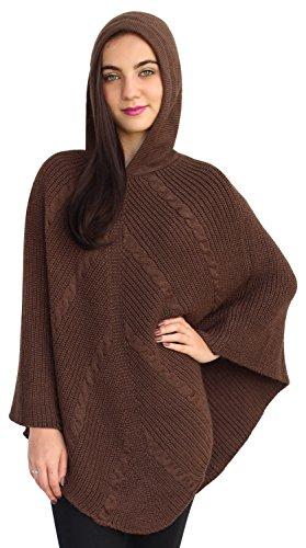 Womens Superfine lana de alpaca Poncho con capucha sudadera con capucha capa