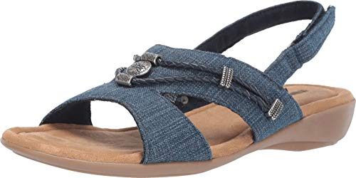 Minnetonka Womens Sylvia Sandal, Blue Denim, Size 7