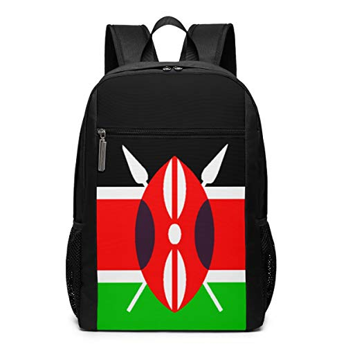 Kenya Flag Lightweight Laptop Backpack for College School Black 17 Inch Classic Casual Daypack for Outdoor Hiking Camping Trekking Hunting