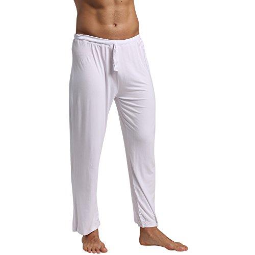 Pajama Trousers (EU Men's Yoga Pants Lounge Trousers Pajama Long Pant Soft Modal Cotton with Pockets White Medium)