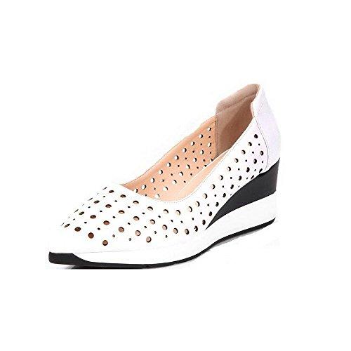 Odomolor Damen Ziehen auf Mittler Absatz Blend-Materialien Rein Spitz Zehe Pumps Schuhe Weiß