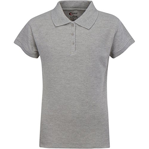 - Premium Short Sleeves Junior Polo Shirts Heather Gray M