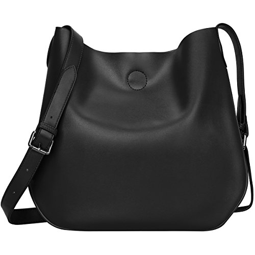 S-ZONE Leather Crossbody Bag Simple Shoulder Bag Drew Purse for Ladies (Black) by S-ZONE