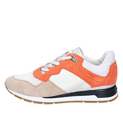 GEOX Sneakers Donna 40 EU Bianco/Arancione Tessuto/Camoscio