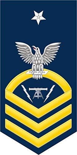 (US Navy Senior Chief Gold E-8 Fire Controlman FC Military Veteran Served Window Bumper Sticker Vinyl Decal)