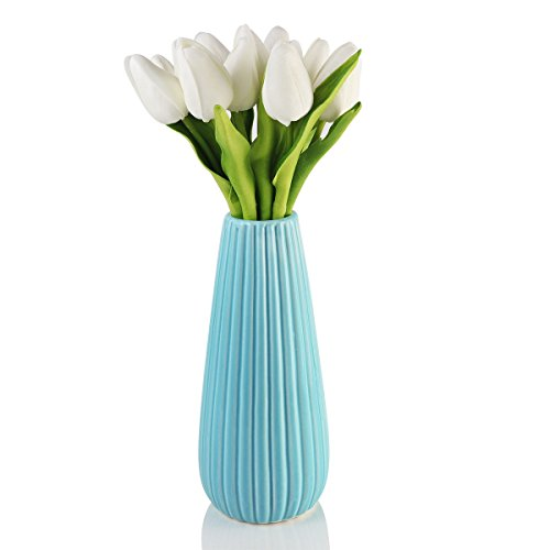 (Fanxieast Polyurethane Artificial Flowers Wedding Home Decoration Flowers Floral Fragrance True Texture (12 White Tulips, 1 Pack) )