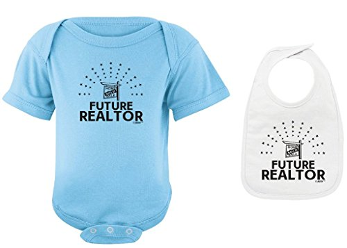 Baby Registry Gifts Future Realtor Light Blue Bodysuit and White Bib Bundle 24 Months