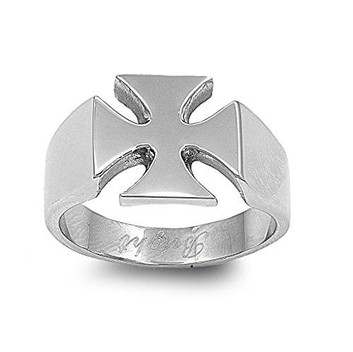 Stainless Steel Iron Cross Biker Ring Size 12