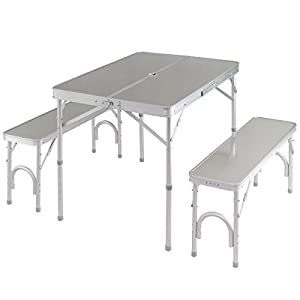 Giantex Aluminum Folding Camping Table Outdoor Portable Picnic Suitcase Table Set w/Bench 4 Seat