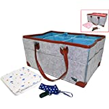 Diaper Caddy Baby Organizer Storage Bin with Changing Pad & Pacifier Clip   Large Size Tote for Wipes, Toys, Bottles   Sturdy & Portable   Perfect Baby Shower Gift Set   Nursery Bag (Baby Blue)